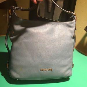 Michael Kors Baby Blue Leather Shoulder Handbag